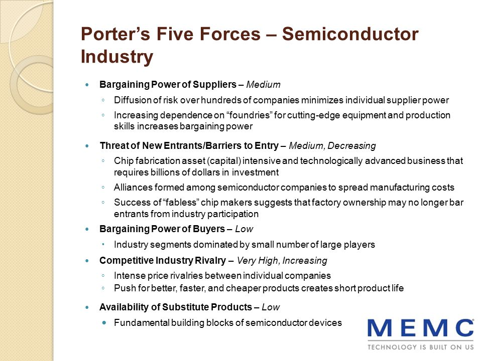porter 5 forces analysis electronic industry Porter's six forces provide a method for industry analysis the presence of the sixth force of porter, complementors, can benefit or hurt the firms competing in an industry, depending on the circumstances.
