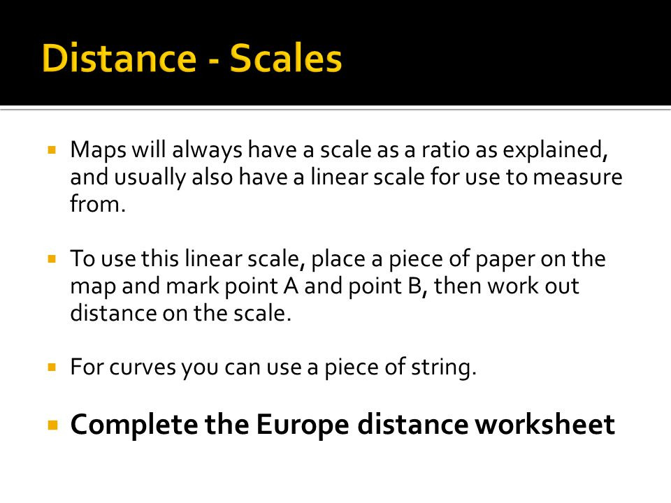Map Scale Distance LO Identify distances on maps of varying – Map Scales Worksheet