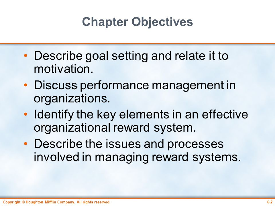 management and motivation system A sound motivation system must be correlated to organizational goals thus, the individual/employee goals must be harmonized with the organizational goals the motivational system must be modified to the situation and to the organization a sound motivation system requires modifying the nature of individual's jobs.
