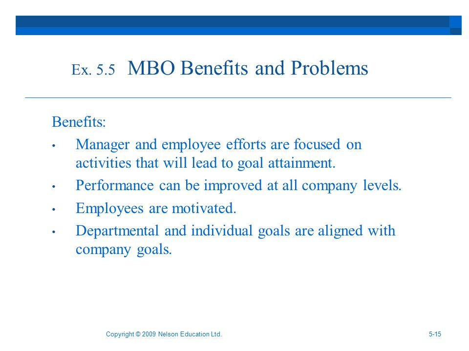 benefits of mbo Learn about management by objectives in this topic from the free management library.