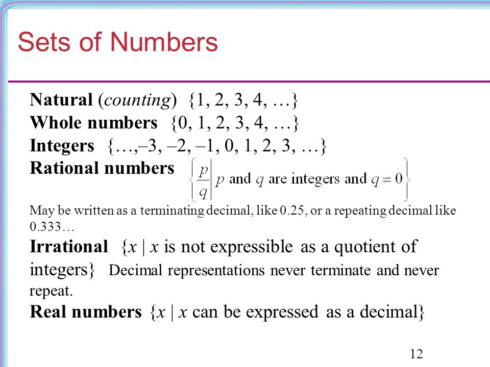 Sets of Numbers Natural (counting) {1, 2, 3, 4, …}