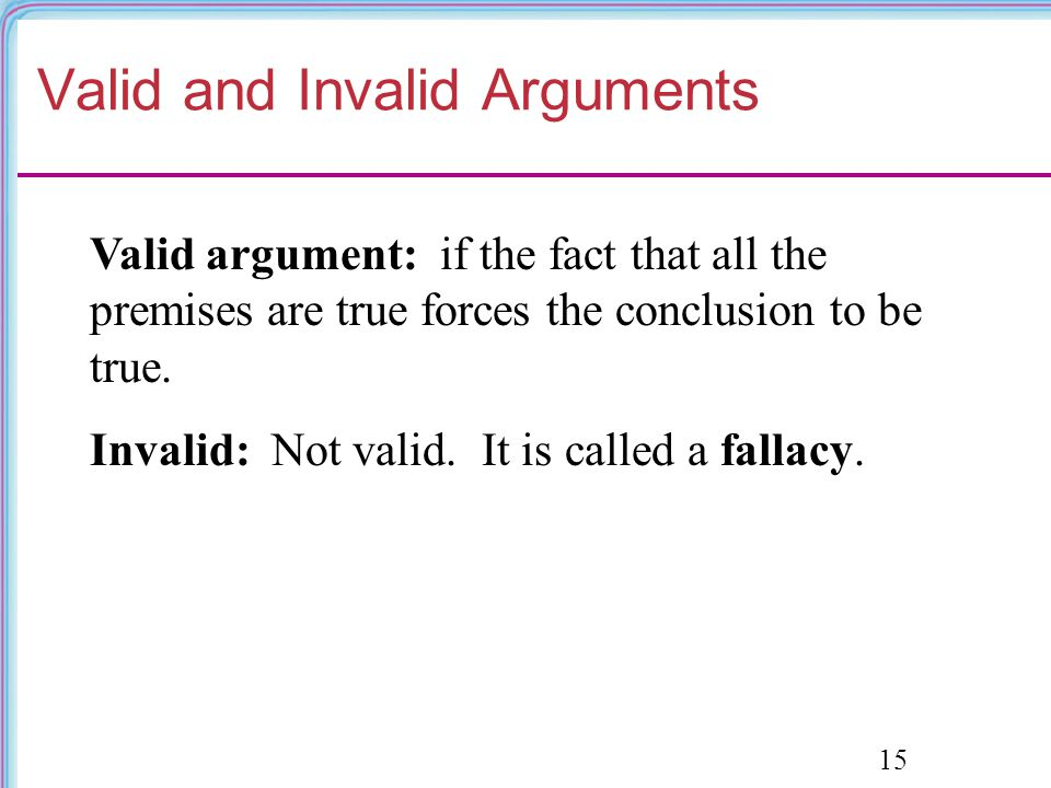 Valid and Invalid Arguments