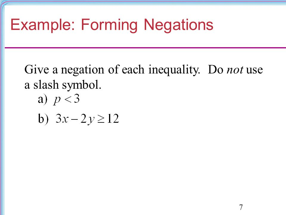 Example: Forming Negations
