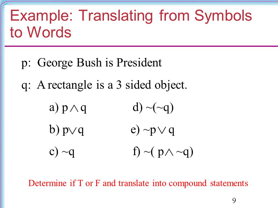 Example: Translating from Symbols to Words