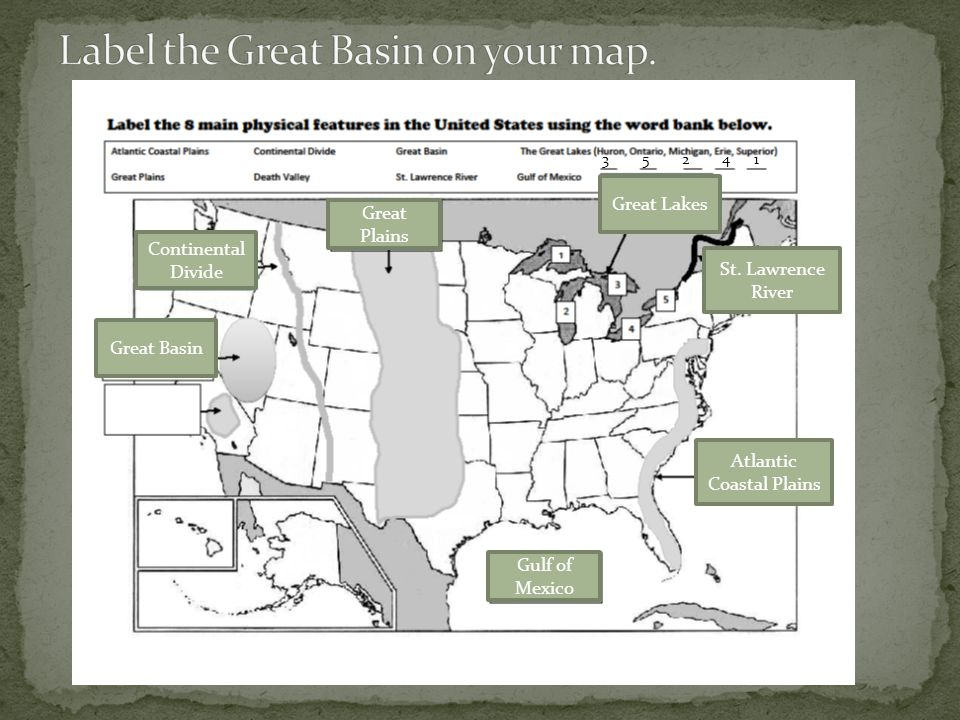 Label the Great Basin on your map.