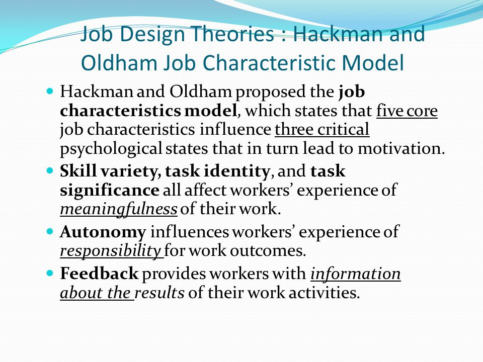 Hackman and Oldham job characteristics model | Employee motivation theories | YourCoach Gent