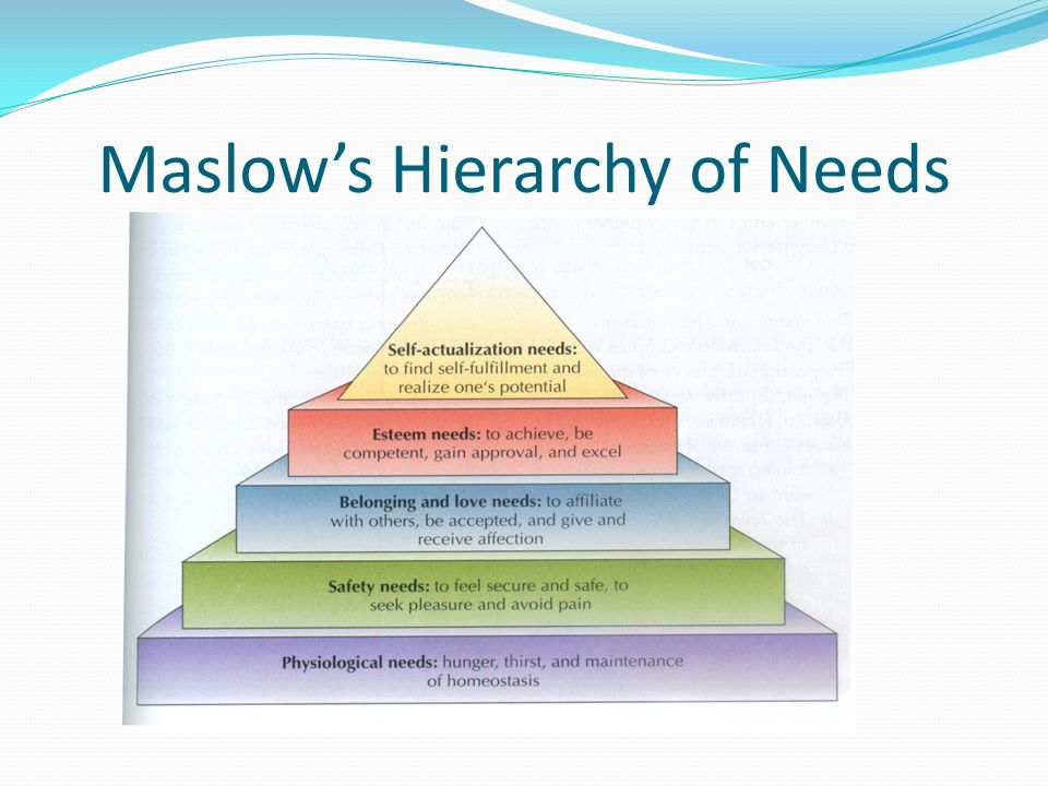 motivating employees using maslow's hierarchy of The basic needs model, referred to as content theory of motivation, highlights the  specific factors  maslow's theory is based on the following two principles:   theory, his ideas can help managers understand and satisfy the needs of  employees  mcclelland associates each need with a distinct set of work  preferences, and.