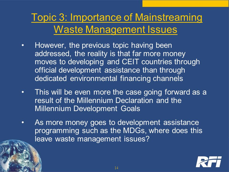 Topic 3: Importance of Mainstreaming Waste Management Issues