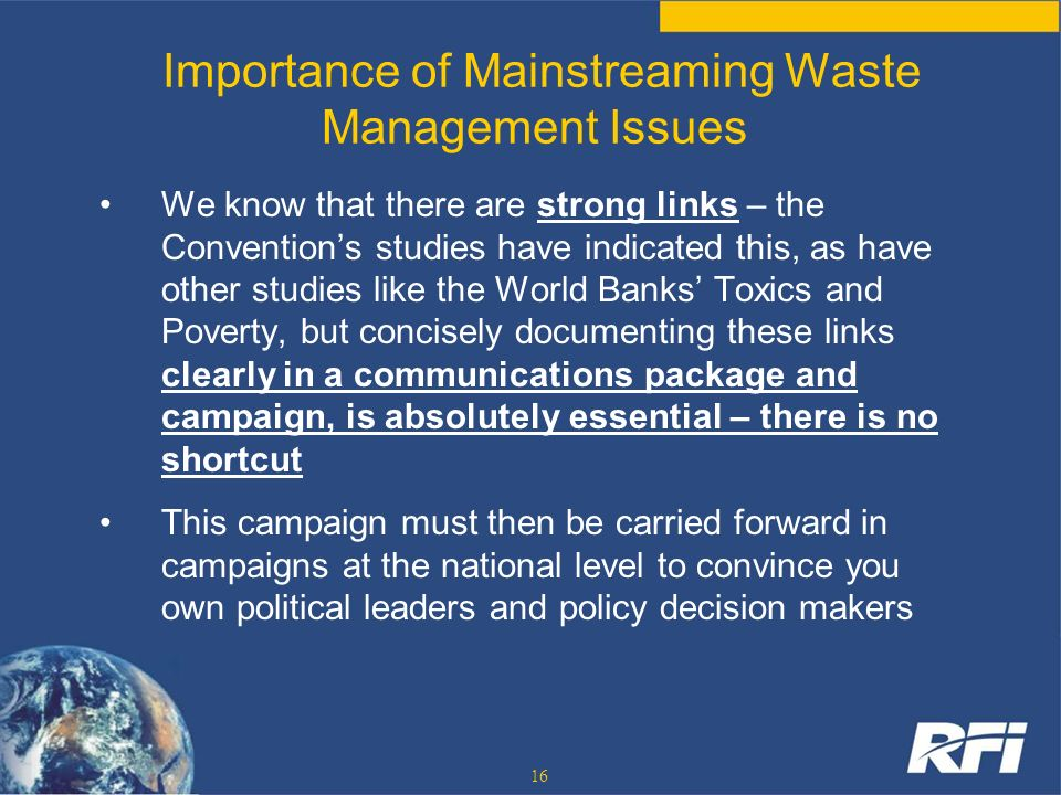 Importance of Mainstreaming Waste Management Issues