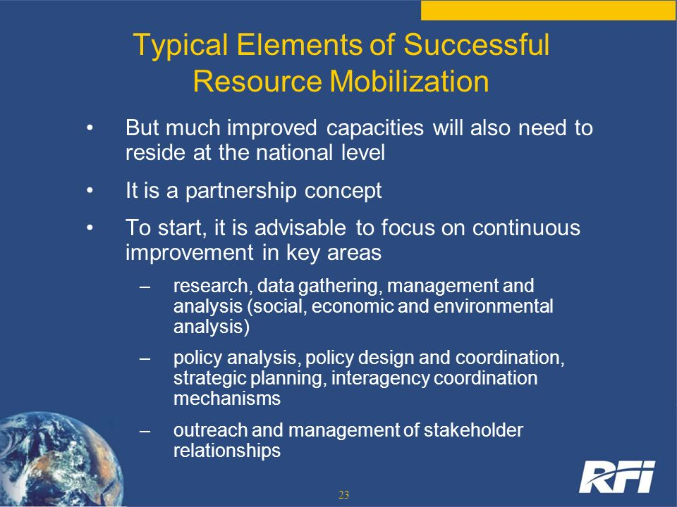Typical Elements of Successful Resource Mobilization