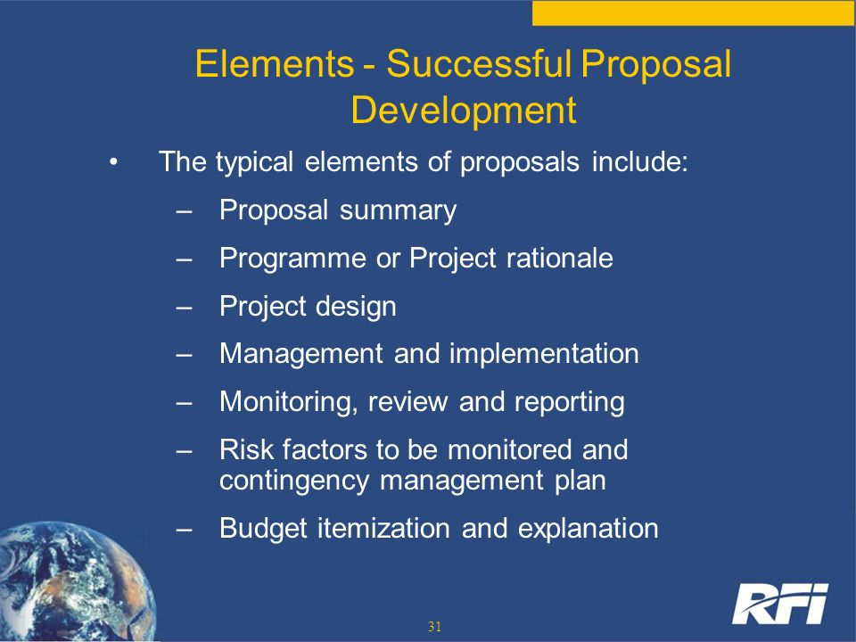 Elements - Successful Proposal Development