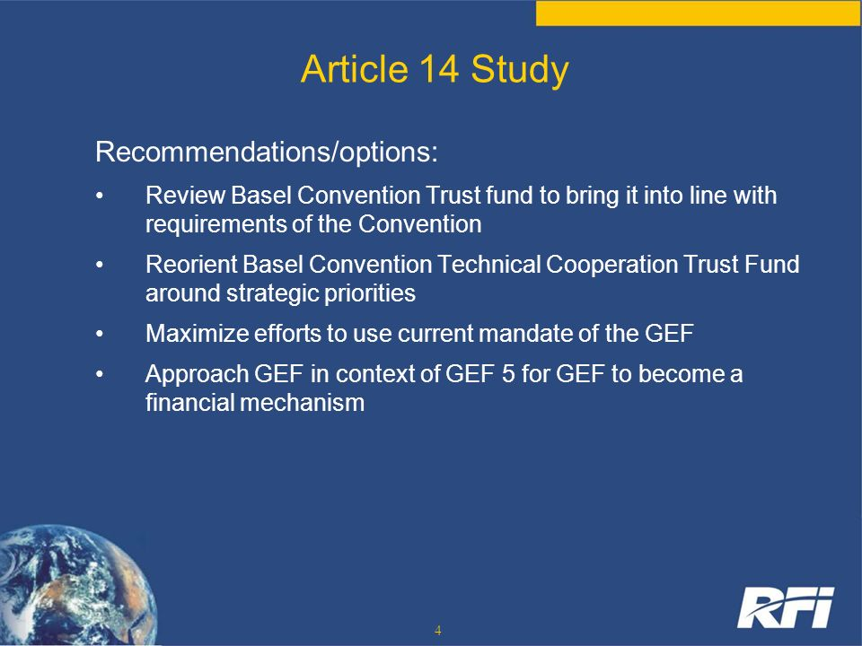 Article 14 Study Recommendations/options: