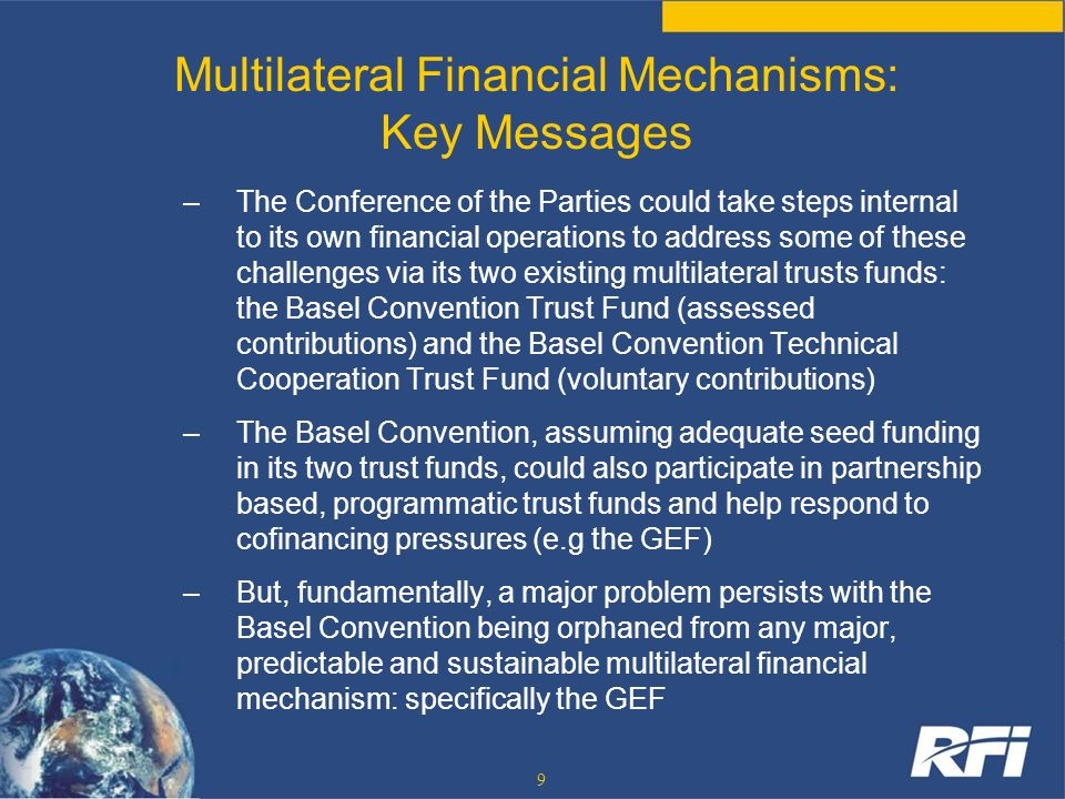 Multilateral Financial Mechanisms: Key Messages