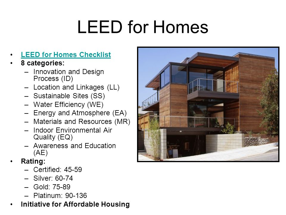 Heather keil energy law spring ppt video online download for Leed for homes rating system