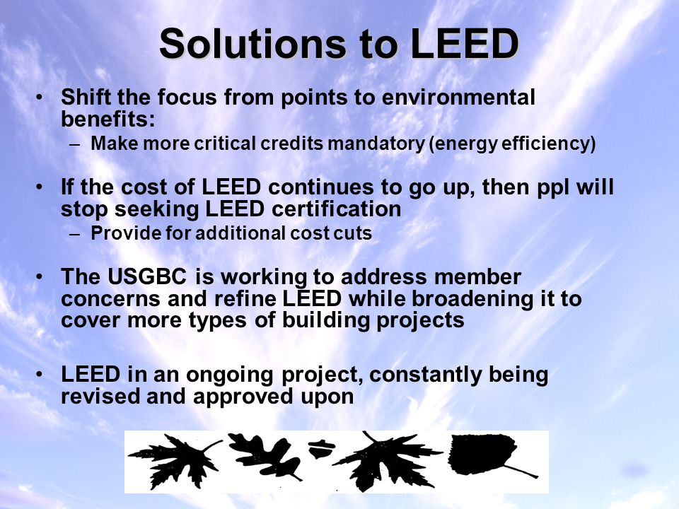 Heather keil energy law spring ppt video online download for Benefits of leed certified buildings