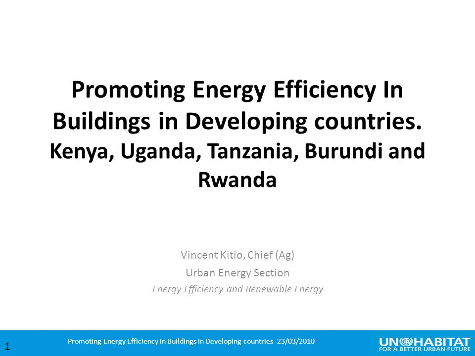 Promoting Energy Efficiency In Buildings in Developing countries.