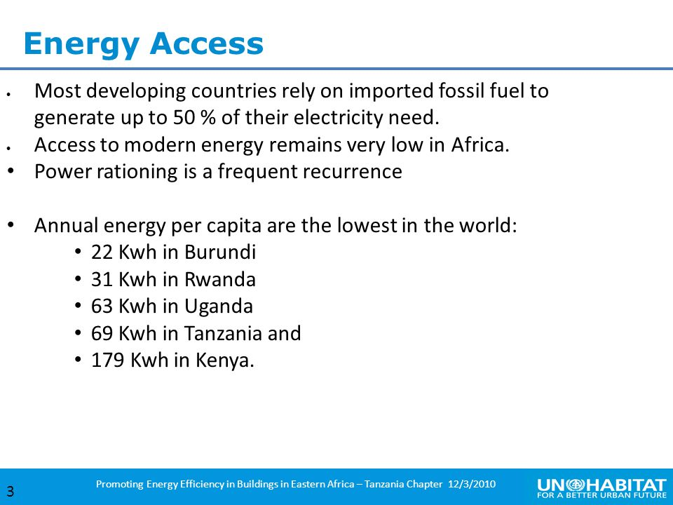 Energy Access Most developing countries rely on imported fossil fuel to generate up to 50 % of their electricity need.