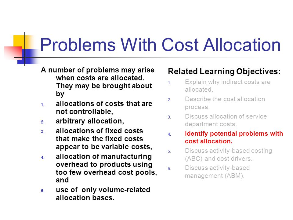 Problems With Cost Allocation