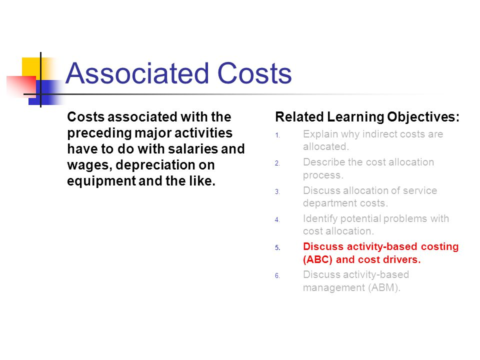 Associated Costs Costs associated with the preceding major activities have to do with salaries and wages, depreciation on equipment and the like.