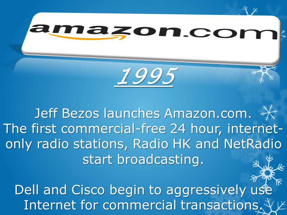 1995 Jeff Bezos launches Amazon. com