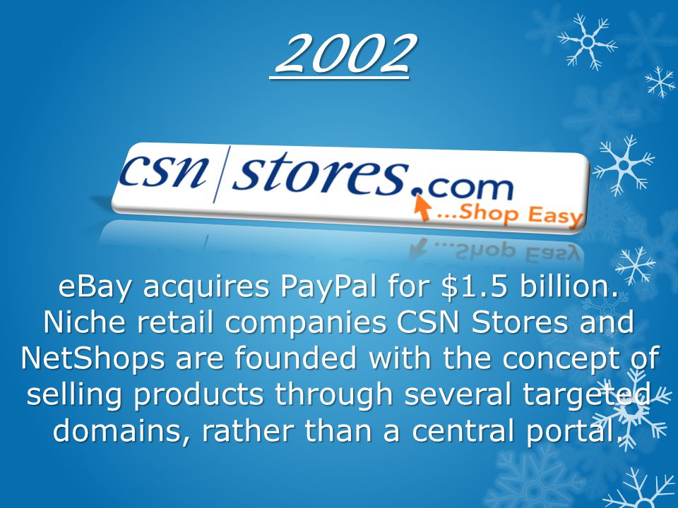 2002 eBay acquires PayPal for $1. 5 billion