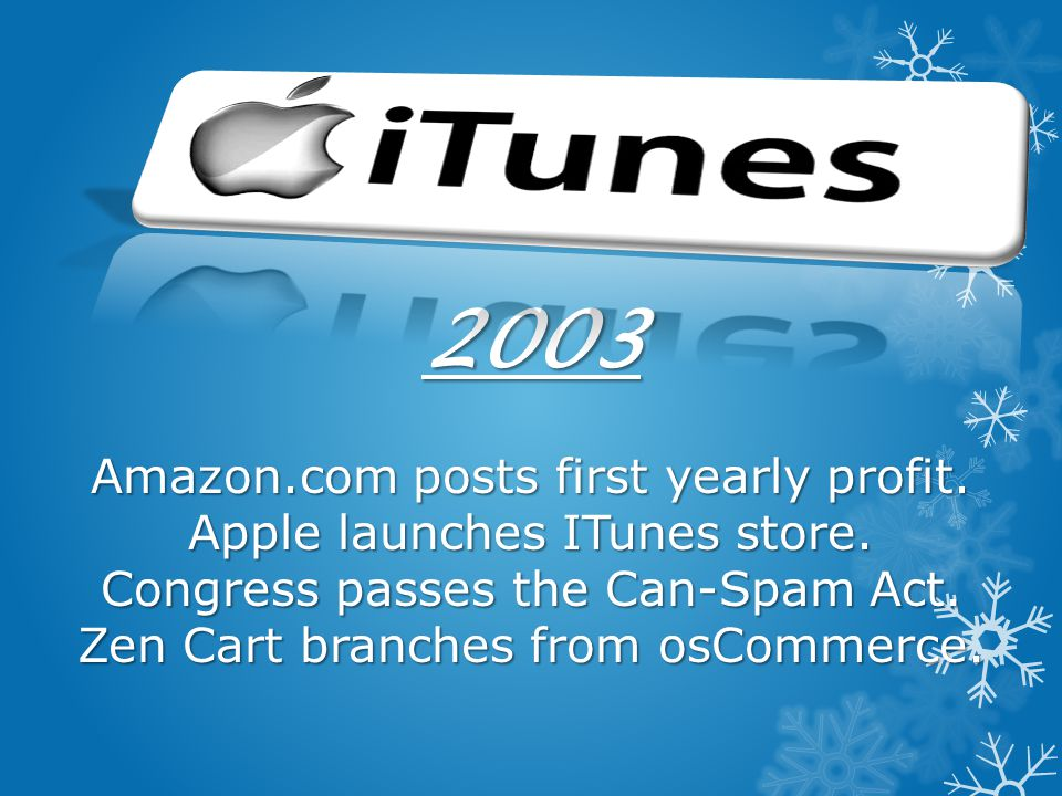 2003 Amazon.com posts first yearly profit. Apple launches ITunes store.