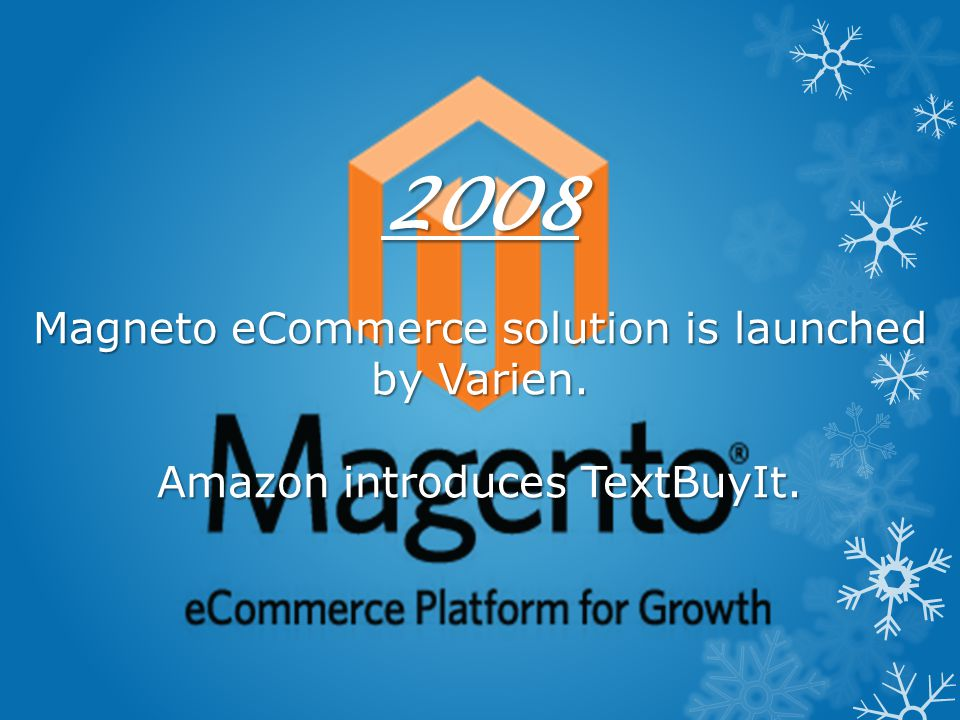 2008 Magneto eCommerce solution is launched by Varien