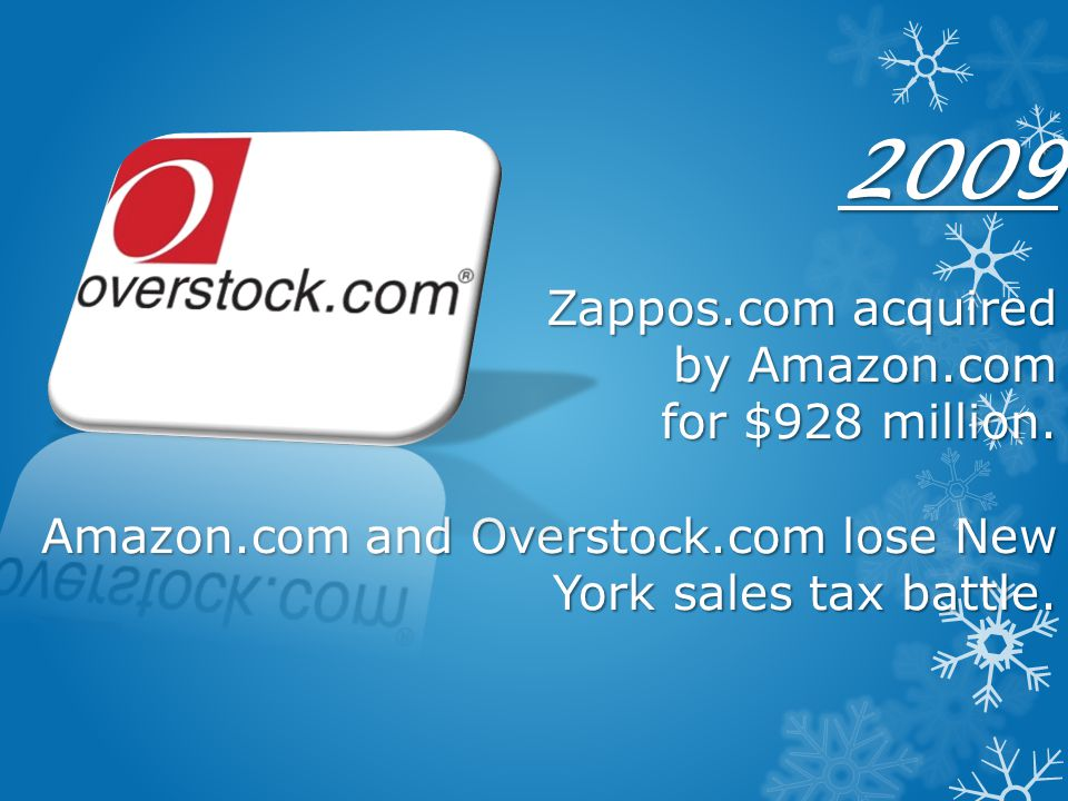 2009 Zappos. com acquired by Amazon. com for $928 million. Amazon