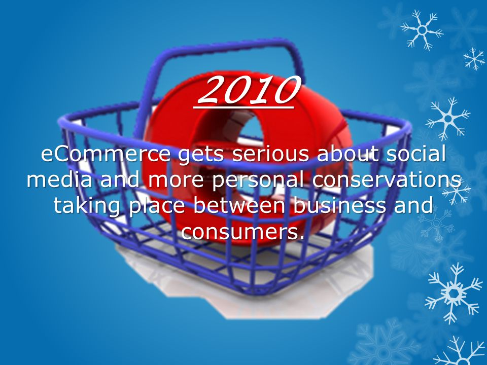 2010 eCommerce gets serious about social media and more personal conservations taking place between business and consumers.
