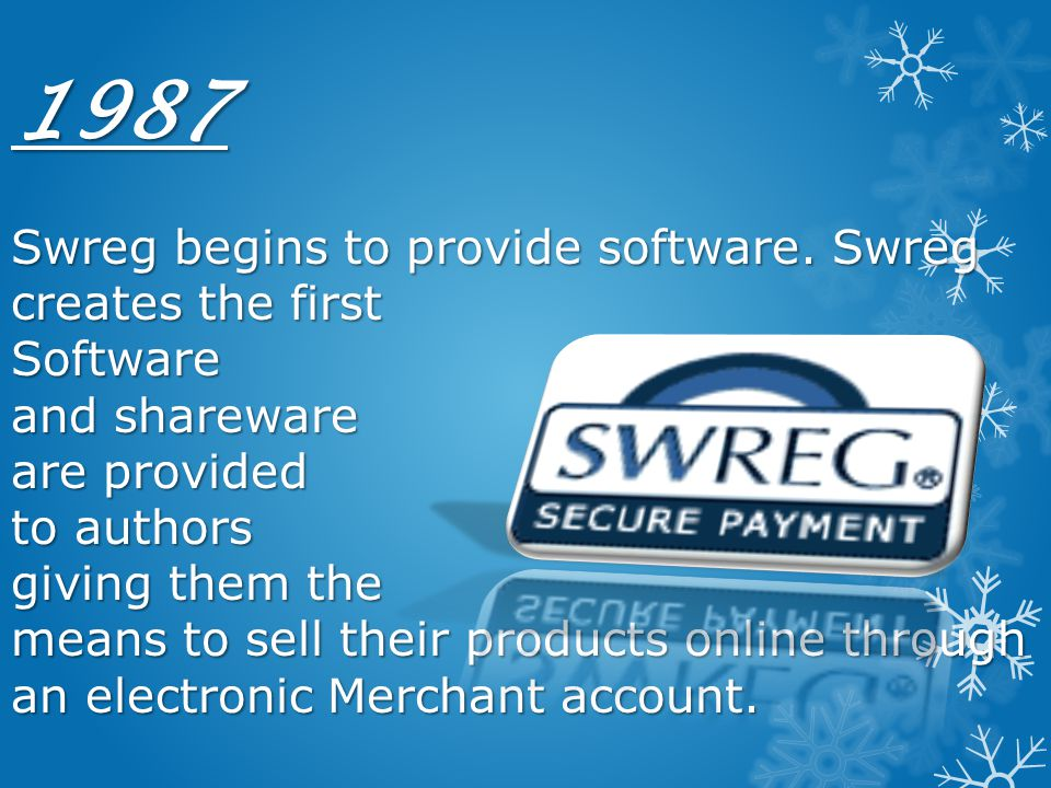 1987 Swreg begins to provide software