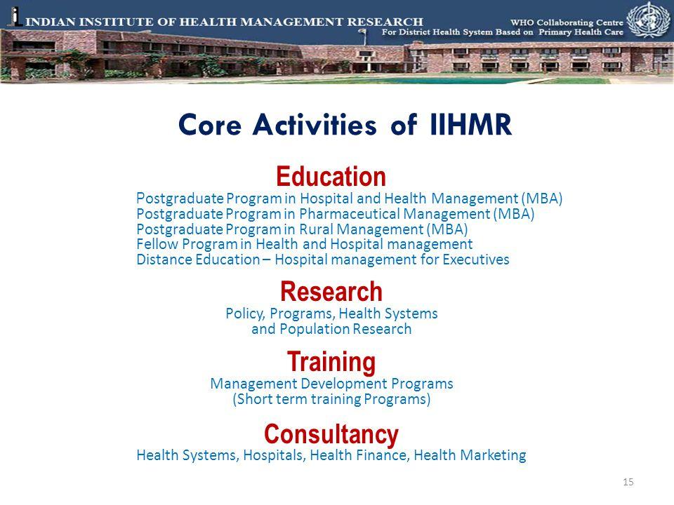 Core Activities of IIHMR