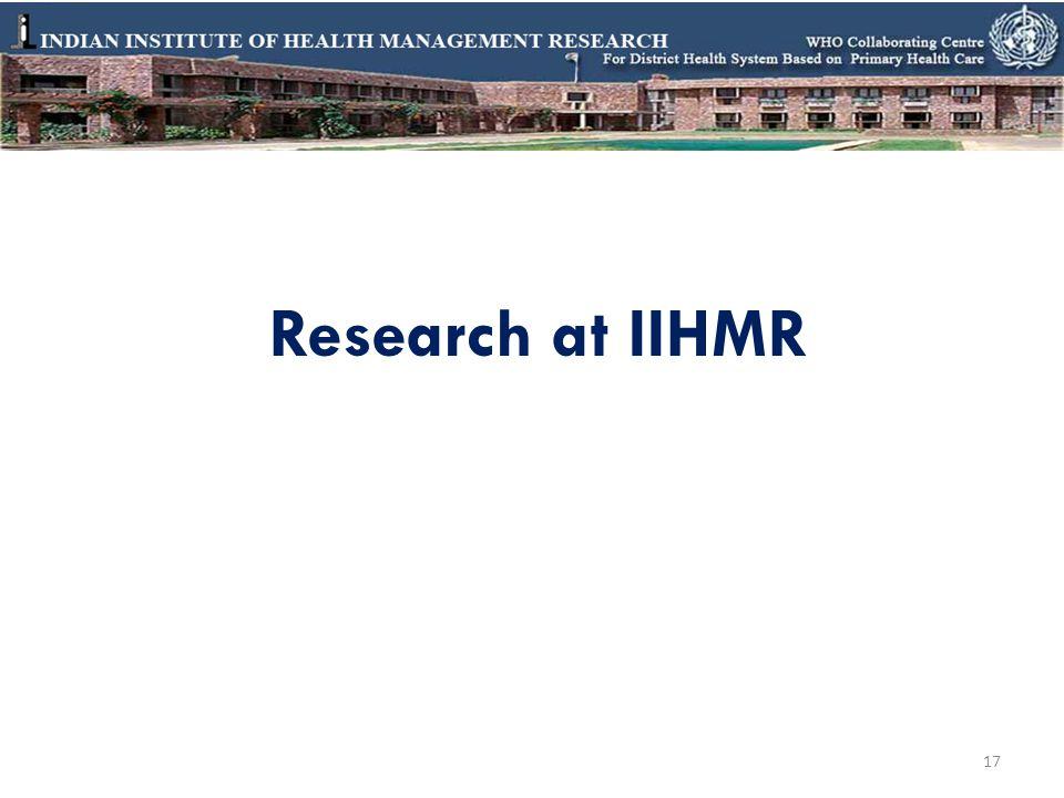 Research at IIHMR