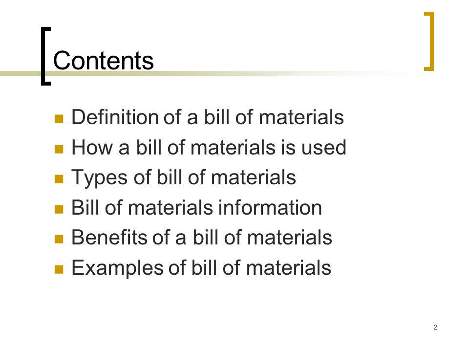 Bill of Materials Title Slide. - ppt video online download