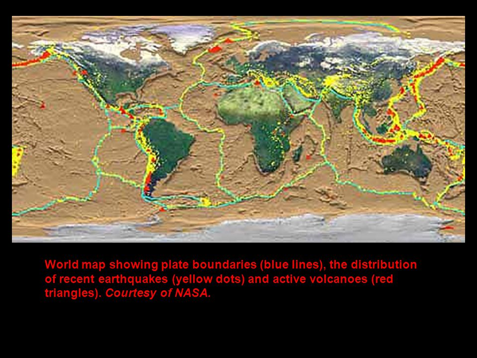 Plate boundaries plate movement plate names types of landforms 5 world map showing plate boundaries blue lines the distribution of recent earthquakes yellow dots and active volcanoes red triangles gumiabroncs Choice Image
