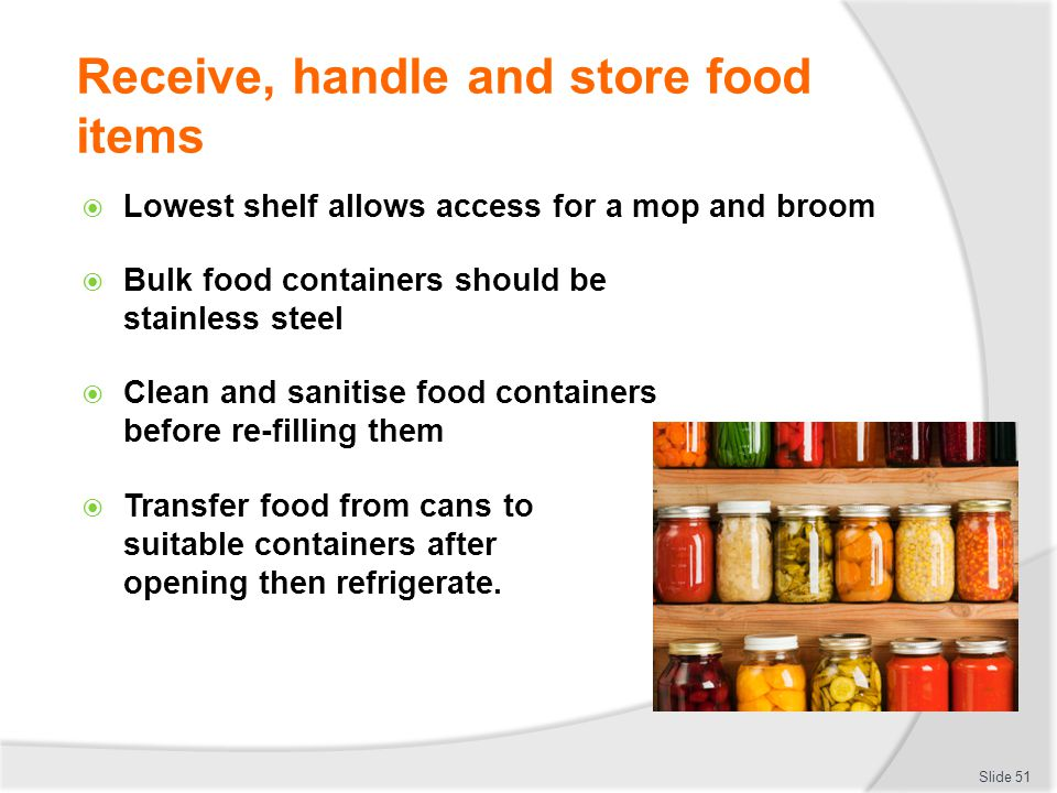 Bulk Food Items Must Be Stored