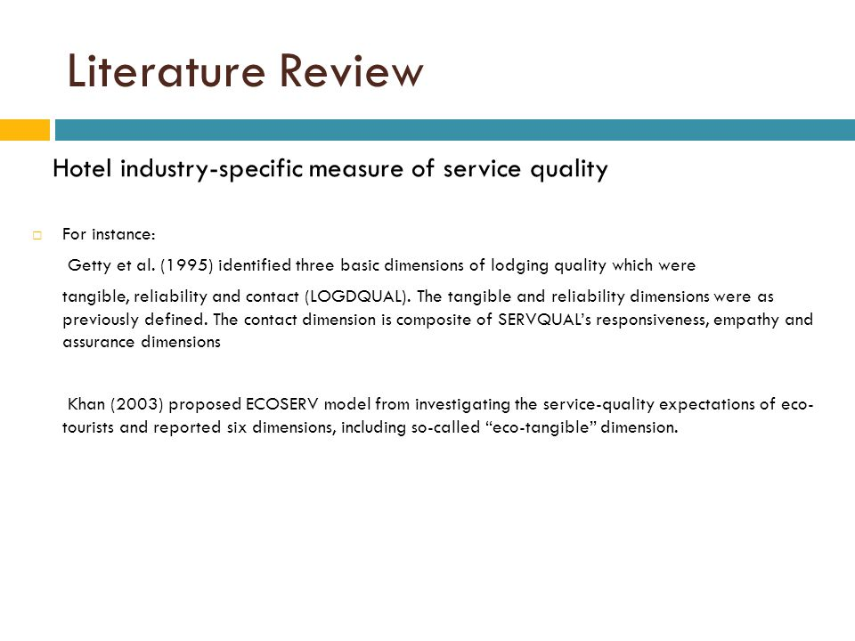 literature review service quality hotel