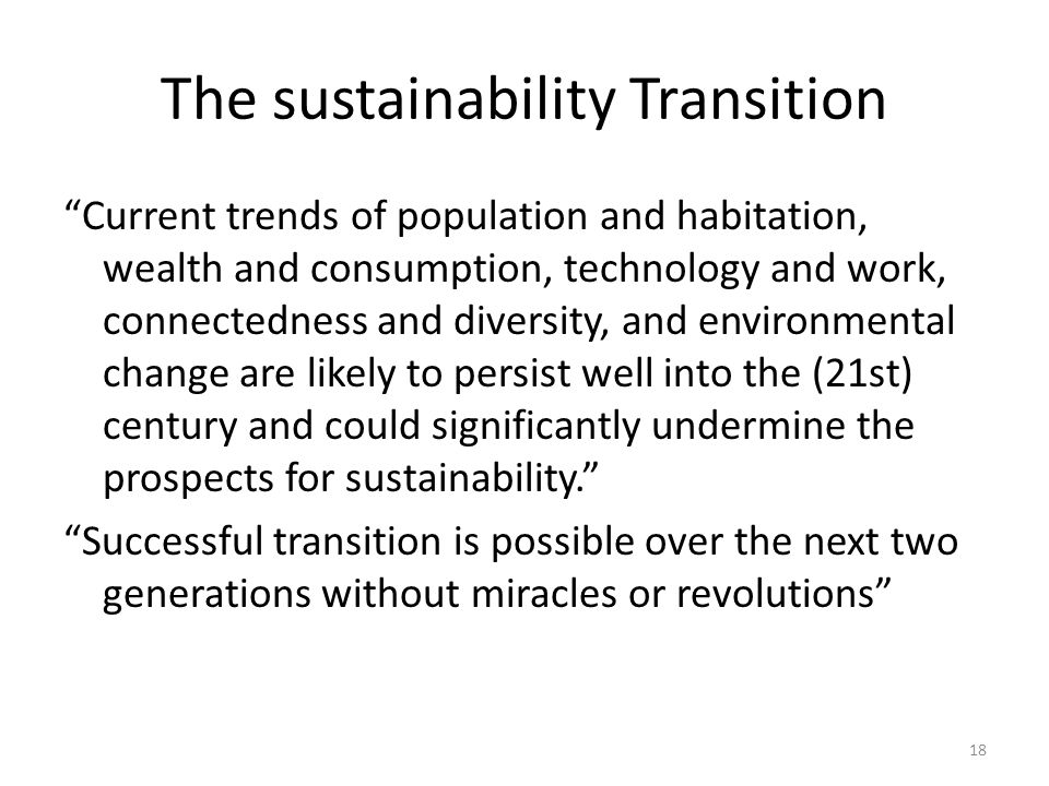 The sustainability Transition