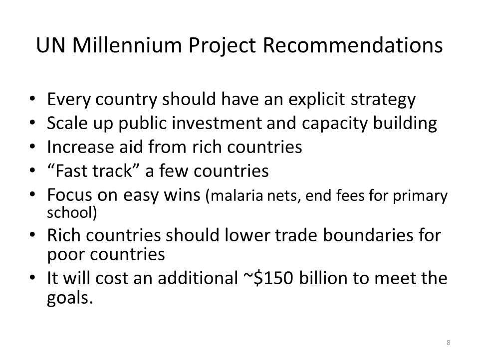 UN Millennium Project Recommendations