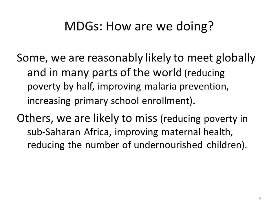 MDGs: How are we doing