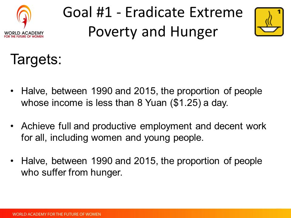 """eradicate extreme poverty and hunger essay """"global poverty is the scourge and disgrace of our affluent era"""" (smith 13)  eradicating extreme poverty has always been one of the greatest challenges in  the."""