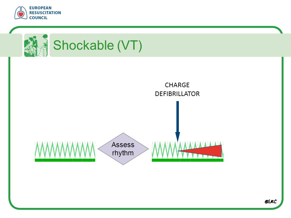 Shockable (VT) CHARGE DEFIBRILLATOR Assess rhythm