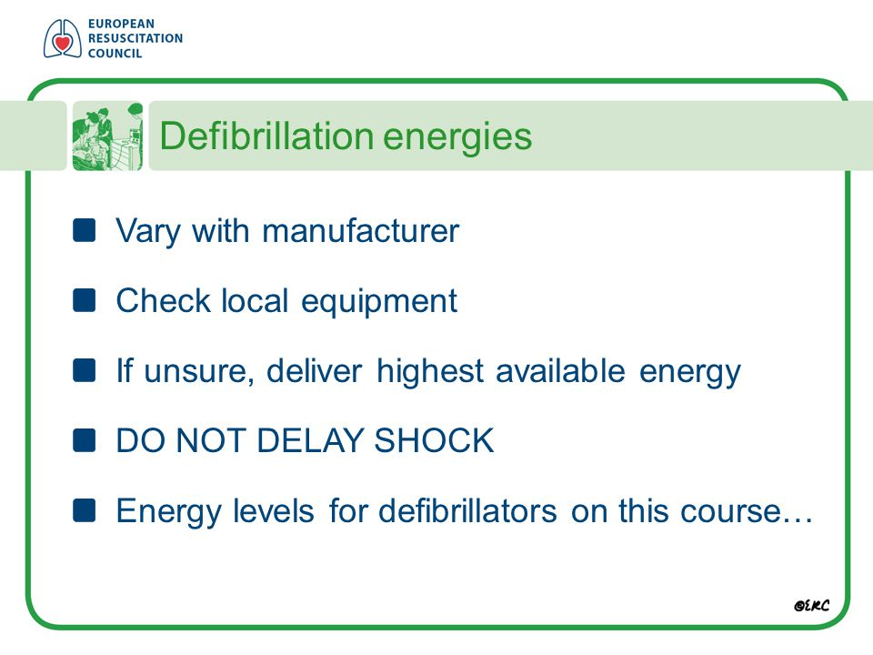 Defibrillation energies