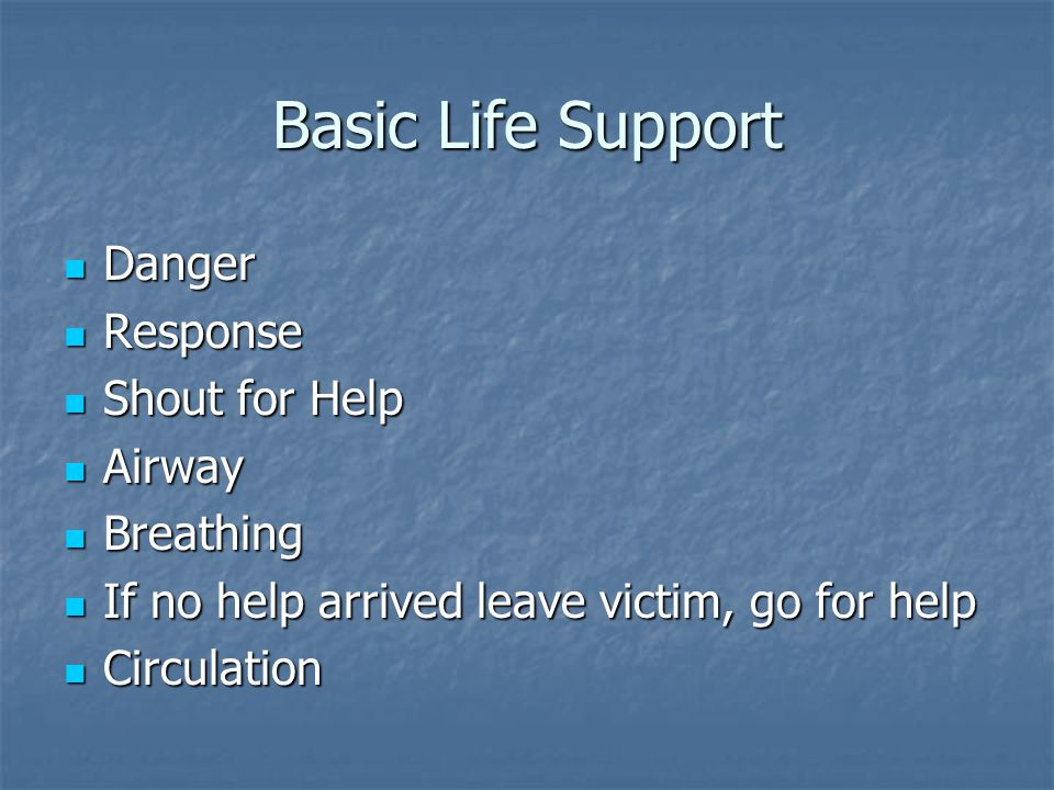 Basic Life Support Danger Response Shout for Help Airway Breathing