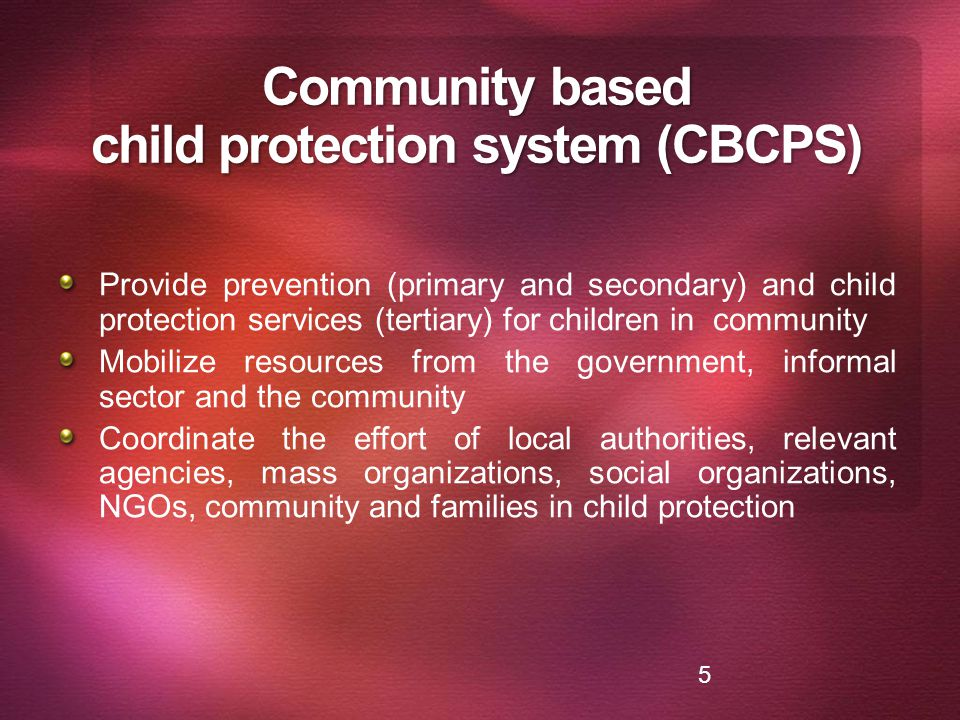 Community based child protection system (CBCPS)