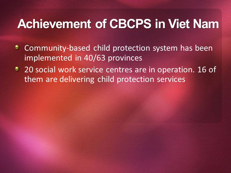Achievement of CBCPS in Viet Nam