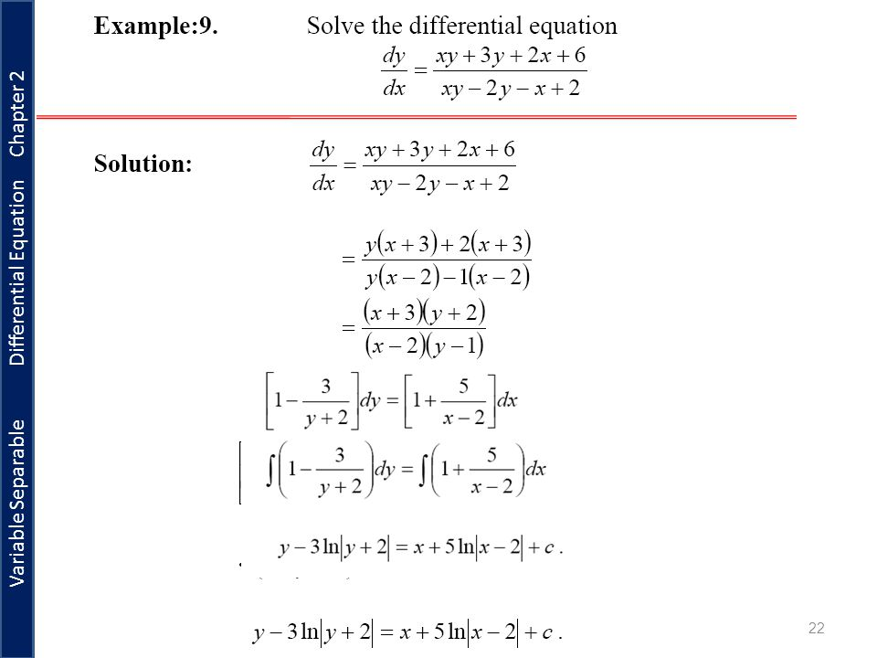 Chapter 2 Solution of Differential Equations ppt download – Separable Differential Equations Worksheet
