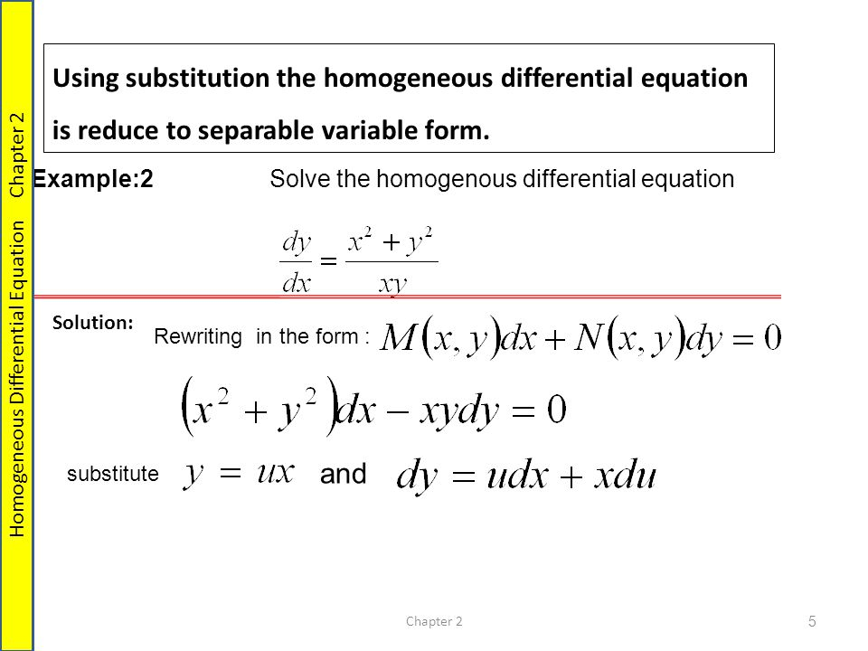 Method Homogeneous Equations Reducible to separable. - ppt video ...