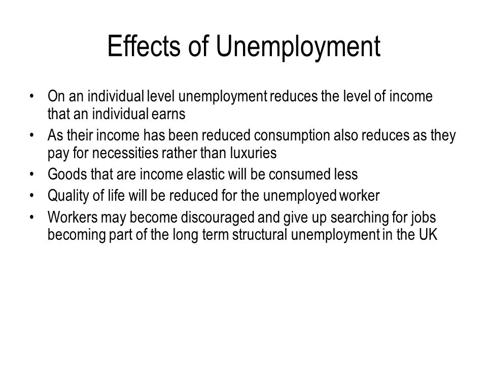 What is the impact of unemployment on society?