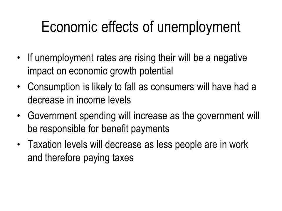effect of income growth and unemployment Unemployment benefits and unemployment iza world of labor sources of household income these positive effects on consumption are particularly helpful to the.