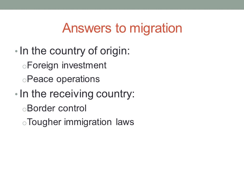 Answers to migration In the country of origin: